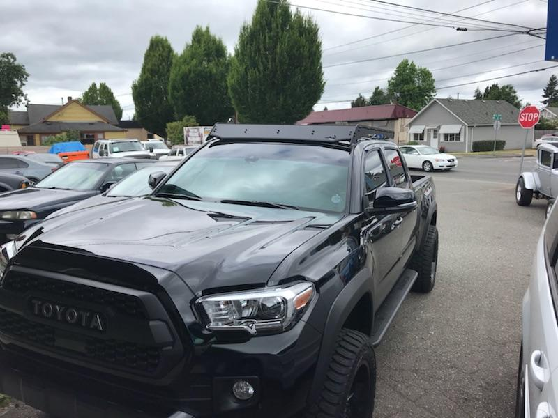 Tinted Windows with Roof Rack on Toyota Tacoma